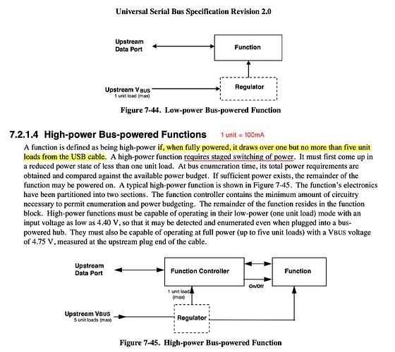 USB 2.0 对于高低功率输出的规定